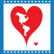 Illustration Heart Symbolizing American map — Stock Vector