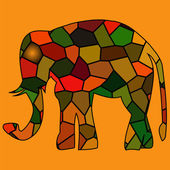 Gyllene inramade elefant i ljus strålar — Stockvektor
