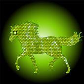 Colore verde sagoma di cavallo raffinato mosaico — Vettoriale Stock