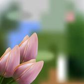 Suave rosa ramo de tulipanes — Vector de stock