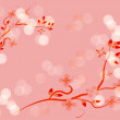 Japanese branch blossom pink background — Stock Photo