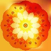 Rose gold sun petal flower shell on yellow — Stock Vector