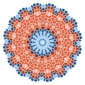 赤色のモザイクの花弁の花を持つ青いヴィンテージ — ストックベクタ