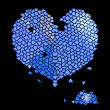 Glass blue heart made of precious stones — 图库矢量图片