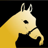 Silhouette of gold horse the sketch retro — Stockvektor