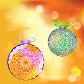 Açık noel renkli ışık topu ile — Stok Vektör