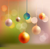 Light Christmas background with light ball — Vector de stock