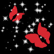 Red love butterflies on night sky brilliant — Stock Vector