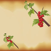 Red berries on green branch Christmas — Stock Vector