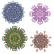 Stock Vector: Lace purple floral colorful ethnic ornament
