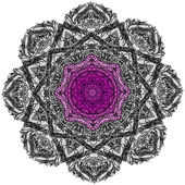 Lace floral purple magic ethnic ornament — Stock Vector