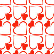 Romantic red seamless pattern with hearts — Stock Vector