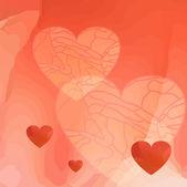 Romantico modello rosso con cuori — Vettoriale Stock
