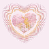 Sweet hearts in the yellow and pink colours pastel — Vettoriale Stock