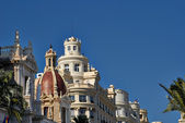 Buildings with lace fronts of city Valencia Spain — Stock Photo