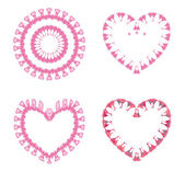 Pink spring flowers hearts — Stock Vector
