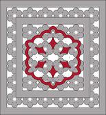 ажурные орнаменты с серым, красный шнурок — Cтоковый вектор