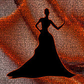 Elegant black silhouette of woman on red background — Wektor stockowy