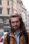 Part of face young European man with beard. — Zdjęcie stockowe