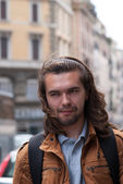 Part of face young European man with beard. — Stock Photo