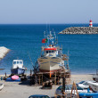 Ships on Sesimbra beach, Setubal, Portugal — Stock Photo
