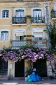 Entrance porch with blooming flowers near Jerónimos Monastery, Portugal,Lisbon, Belem. — Stock Photo