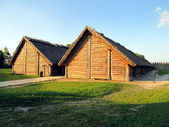 Old settlement, part of the archaeological museum in Poland Bisk — Stock Photo