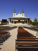 The altar in the square and church in Medjugorje — Stock Photo