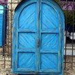 Blue door cabinet as a closed street stall in Mostar — Stock Photo #21012263