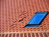 Error in the positioning of tiles on the roof — Stok fotoğraf