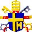 Stock Photo: Coat of arms of Polish Pope Paul II placed reconstructio