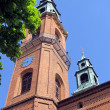 Towers of the Basilica of Our Lady of Piekary Slaskie, Poland — Stock Photo