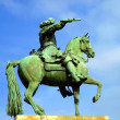 French King Louis XIV on horseback statue in Versailles — Stock Photo