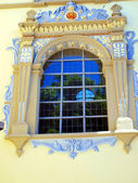 Window in the building of the church of John the Baptist and St. — Stock Photo