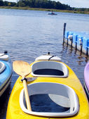 Canoe on the bank of Lake — Stock Photo