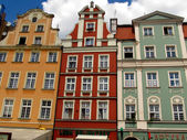 Fragment of colorful facade of old historic buildings in Wroclaw — Stok fotoğraf