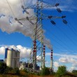 Stock Photo: Pole high voltage and brown-coal power plant