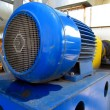 Stock Photo: Large electric motor of blue color as drive to fan