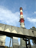 White and red concrete chimney and part of dedusting system — Stock Photo