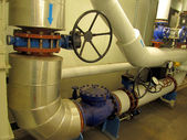 Pipelines and large valves — Stock Photo