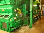 水锅炉链条炉排燃煤 — 图库照片