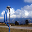 图库照片: Ski slope before winter in anticipation of snow, snowmaking nozz