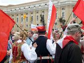 ROME, VATICAN - April 28, 2014: the joy of Polish pilgrims to St — Stock Photo