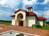 Filial Church in Dyrdach, parish Miotek, the first church in the — Stock Photo