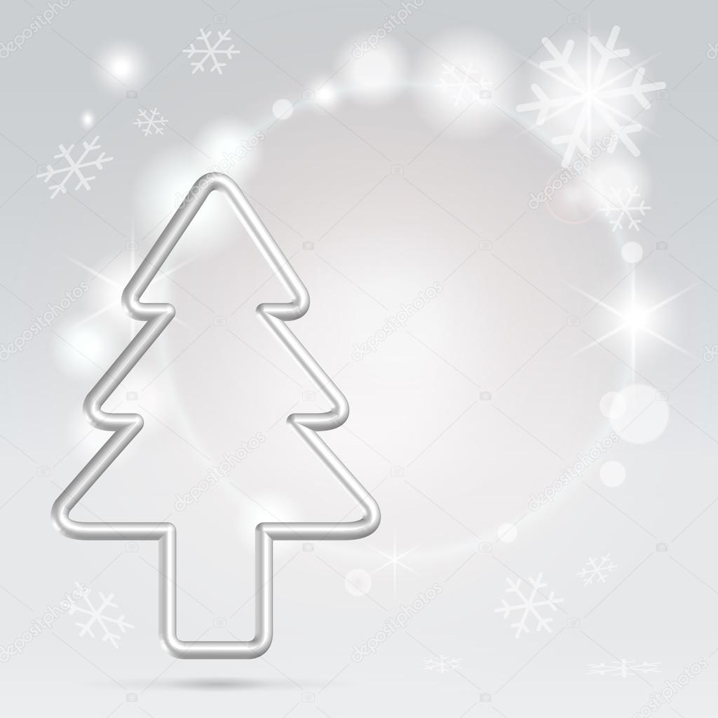 Elegant silver wire christmas tree over sparkling background seasonal greetings postcard — Imagen vectorial #12070910