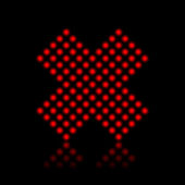 Red neon lights stopping cross — Stock Vector