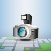 Blue navigation photo pin — Stock Vector