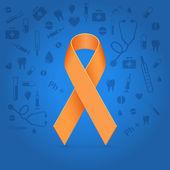 Orange glowing ribbon — Stock Vector