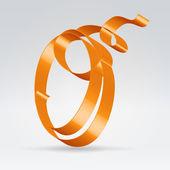 Silk ribbon letter abc — Stock Vector