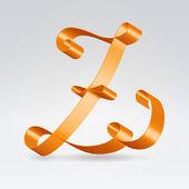 絹のリボン レター abc — ストックベクタ